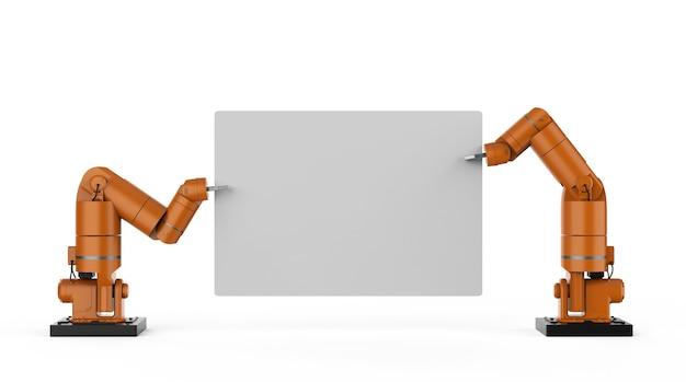 3d-рендеринг робот-рука держит белый чистый лист бумаги