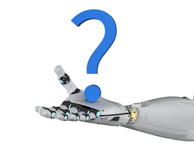 3d rendering robot arm with blue question mark on white background