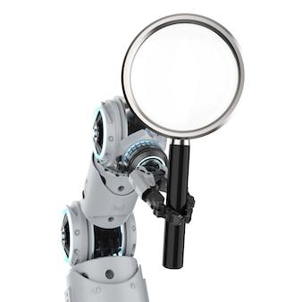 3d-рендеринг руки робота с увеличительным стеклом, изолированные на белом