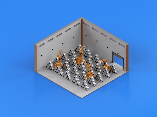 ロール鋼アイソメトリックで動作する3dレンダリングロボットアーム