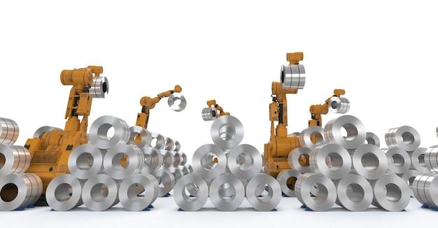 ロール鋼で動作する3dレンダリングロボットアーム