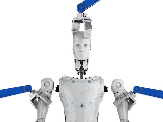 3d 렌더링 로봇 팔은 ai 사이보그를 조립합니다.
