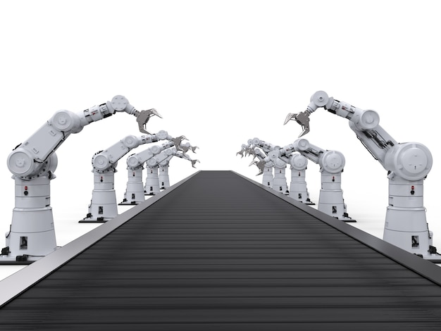 3d-рендеринг роботизированных манипуляторов с конвейерной линией