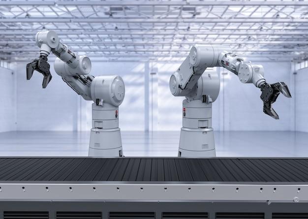 컨베이어 라인이 있는 3d 렌더링 로봇 팔