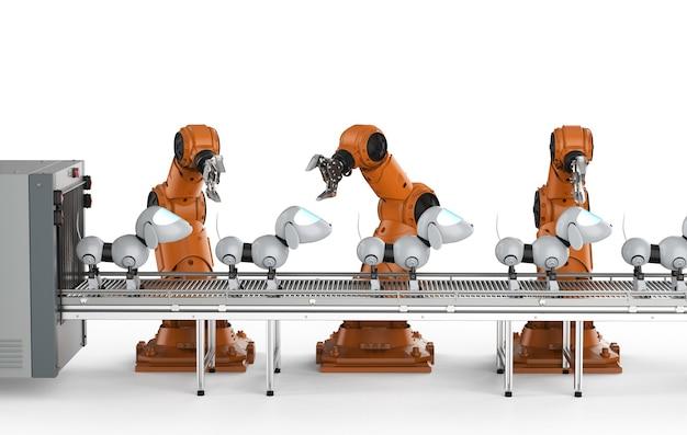 3d 렌더링 로봇 조립 라인 제조 개 로봇