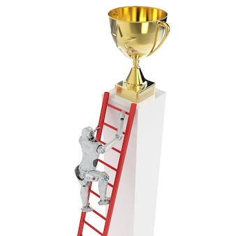 3d rendering robot climb to reach gold star trophy isolated on white
