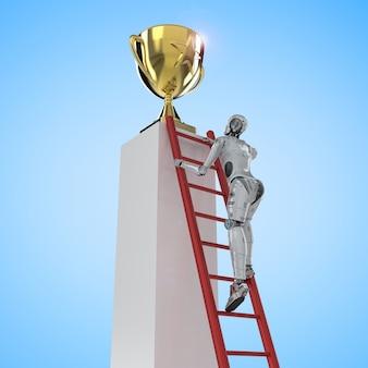 3d rendering robot climb to reach gold star trophy