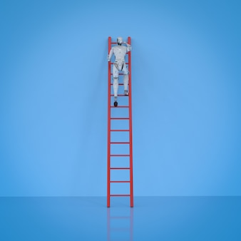 3d rendering robot climb red ladder on blue background
