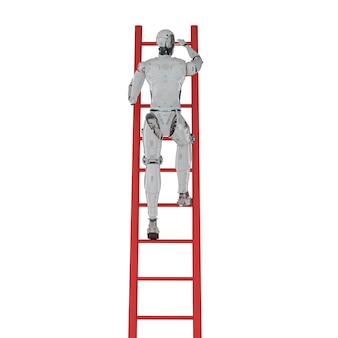 3d rendering robot climb red ladder isolated on white