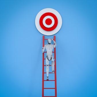 3d rendering robot climb red ladder to target