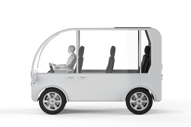3d-рендеринг робот за рулем мини-автобуса на белом фоне