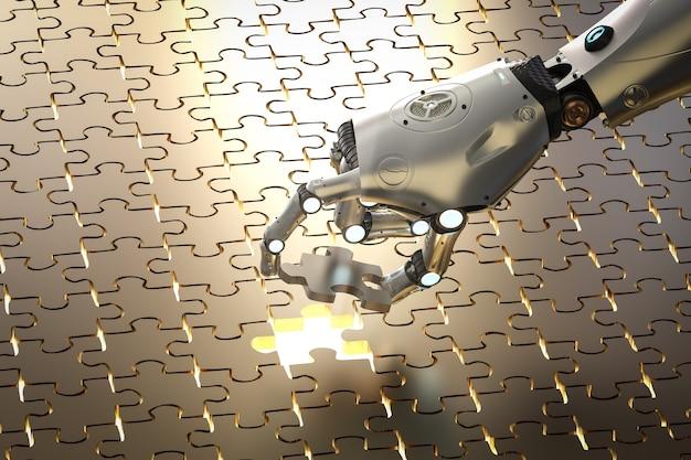 3d-рендеринг робот заполняет кусок головоломки