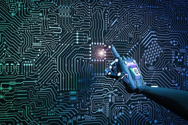 3d-рендеринг пальца робота, указывающего на фон монтажной платы