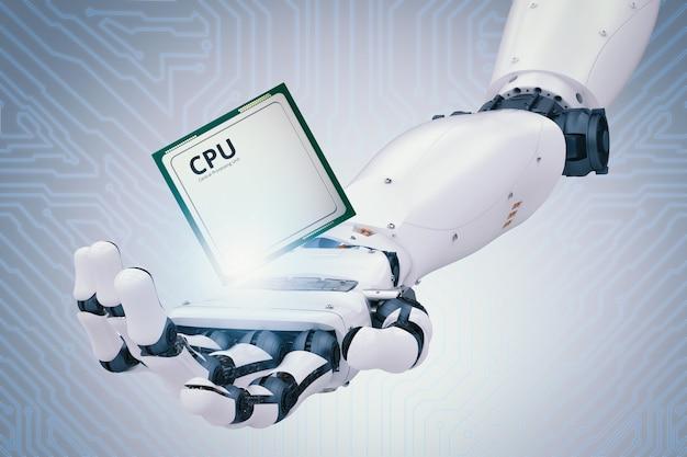 3d 렌더링 로봇 손을 잡고 cpu 칩 또는 마이크로칩