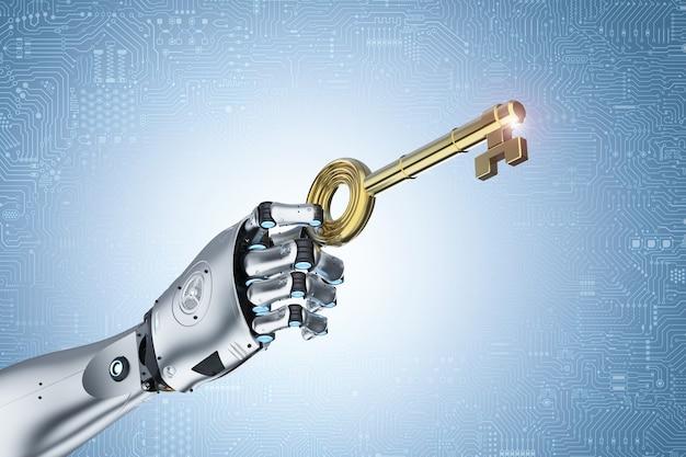 3d рендеринг рука робота держит золотой ключ для разблокировки