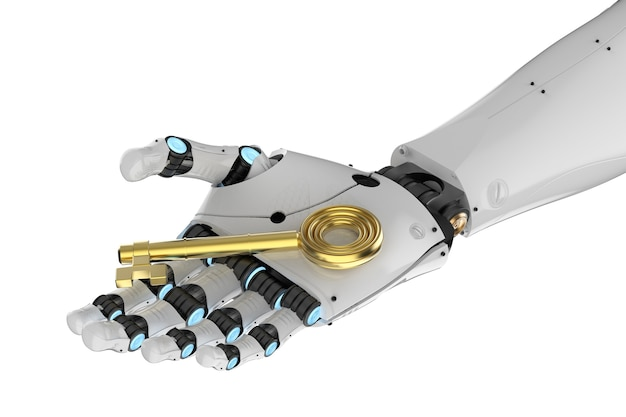 3d rendering robot hand holding golden key isolated on white