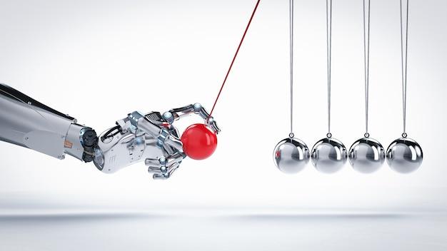 3d 렌더링 로봇 손을 잡고 뉴턴 요람
