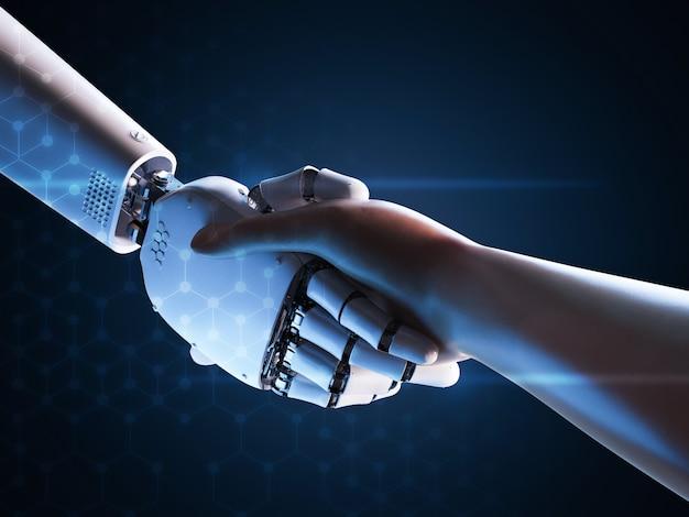 3d рендеринг робота рукопожатие с человеком