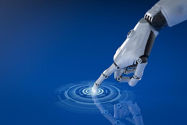 グラフィックディスプレイを備えた3dレンダリングロボットの手