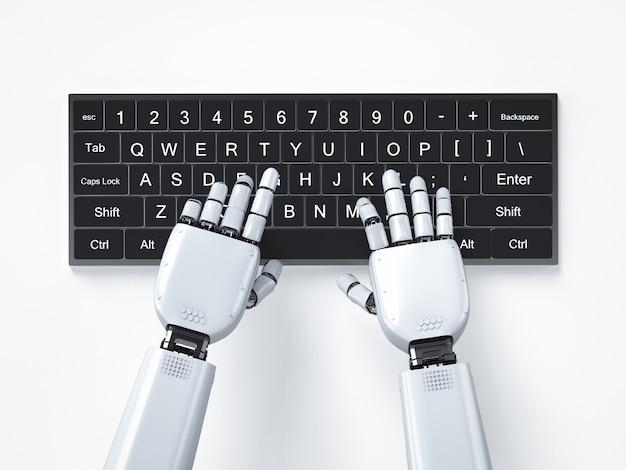 コンピューターのキーボードで動作する3dレンダリングロボットの手