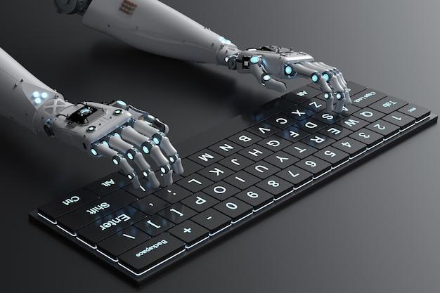 コンピューターのキーボードで動作する3dレンダリングロボットハンド