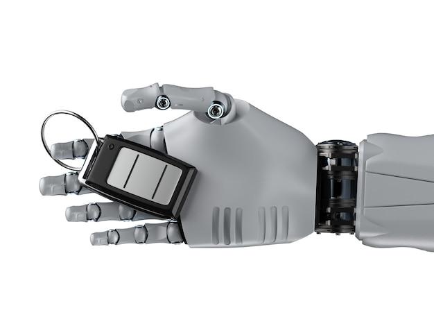 3d-рендеринг робот держит ключ от машины или пульт дистанционного управления на белом фоне