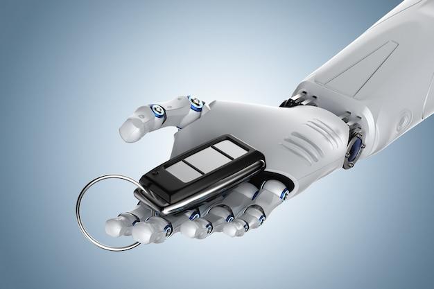 3d-рендеринг робот держит ключ от машины или дистанционное управление автомобилем