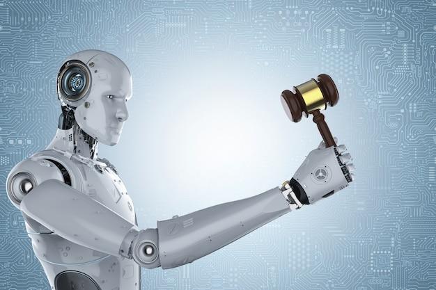 青い背景にガベル裁判官を保持している3dレンダリングロボット