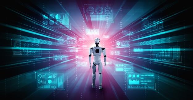 Робот-гуманоид 3d-рендеринга анализирует большие данные с помощью искусственного интеллекта