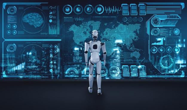 Ai思考を使用してビッグデータを分析する3dレンダリングロボットヒューマノイド