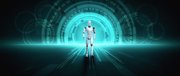 サイエンスフィクションファンタジーの世界での3dレンダリングロボットヒューマノイド