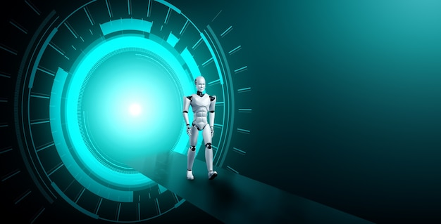 공상 과학 판타지 세계에서 3d 렌더링 로봇 휴머노이드
