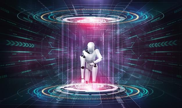 3d-рендеринг робота-гуманоида в фантастическом мире фантастики
