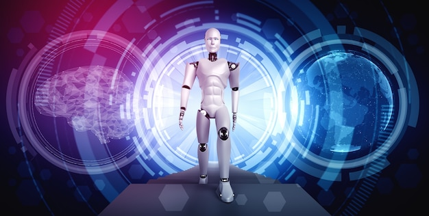 3d rendering robot humanoid in sci fi fantasy world