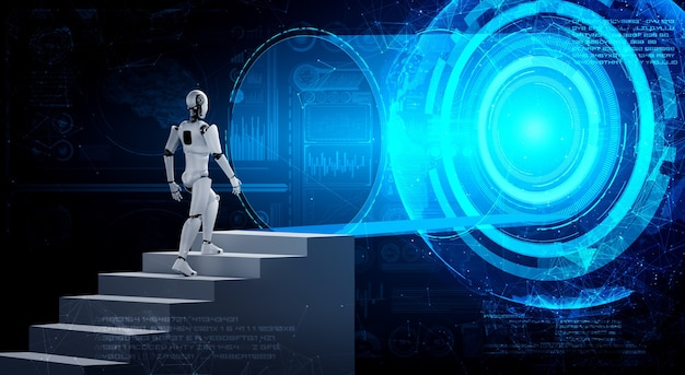 3d rendering robot humanoid walk up stair to success