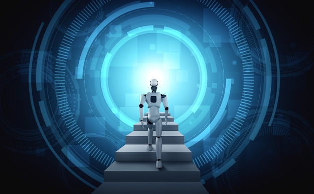 3d 렌더링 로봇 휴머노이드 성공의 계단을 걸어