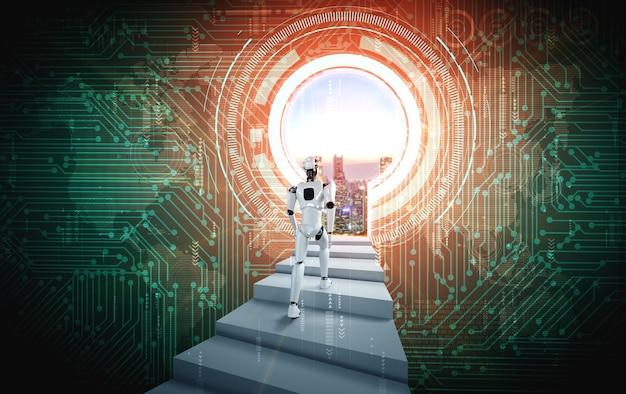 3dレンダリングロボットヒューマノイドが成功への階段を上る