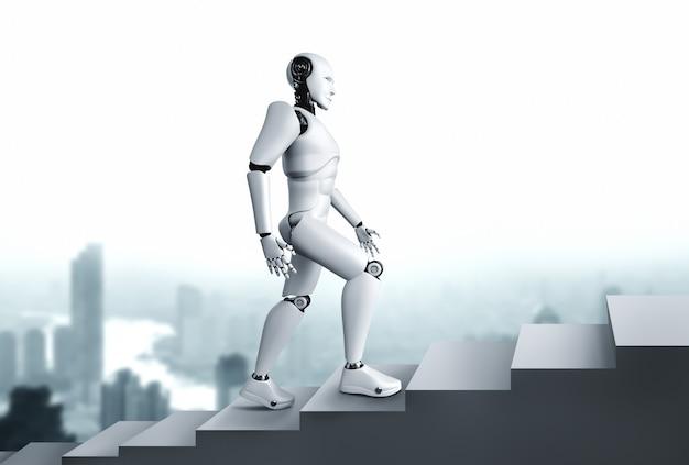 3d-рендеринг робот-гуманоид поднимается по лестнице к успеху