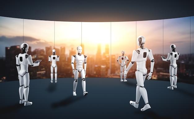 将来のオフィスインテリアで働く3dレンダリングロボットヒューマノイド