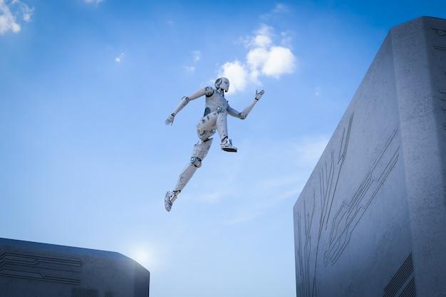 Робот с 3d-рендерингом перепрыгивает между зданиями