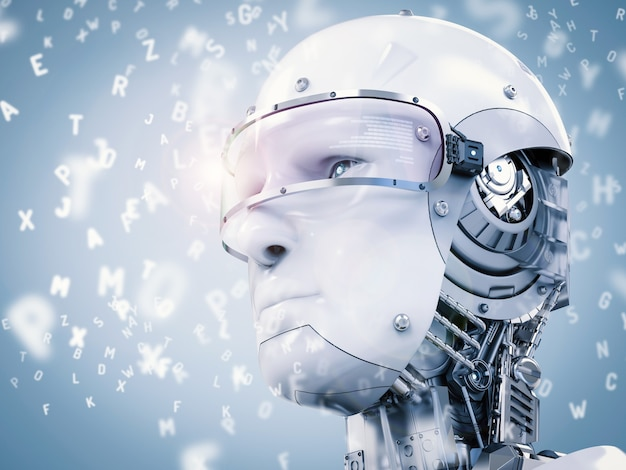 3d 렌더링 로봇 학습 또는 알파벳으로 기계 학습
