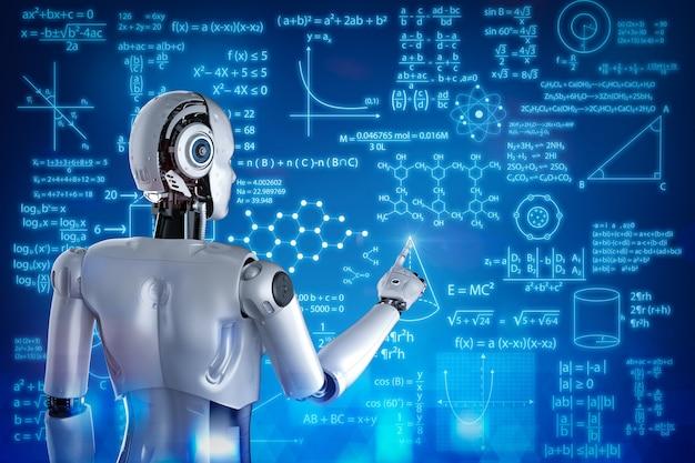 3d-рендеринг обучения роботов или машинного обучения с образовательным интерфейсом hud