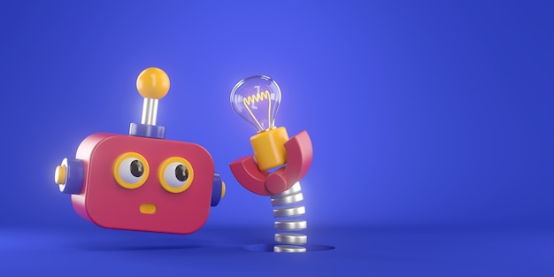 3d rendering of robot and light bulb.