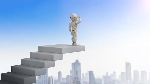 계단 위에서 기회를 찾는 3d 렌더링 로봇