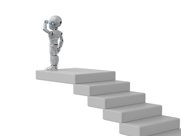 3d rendering robot looking for opportunity on top of staircases