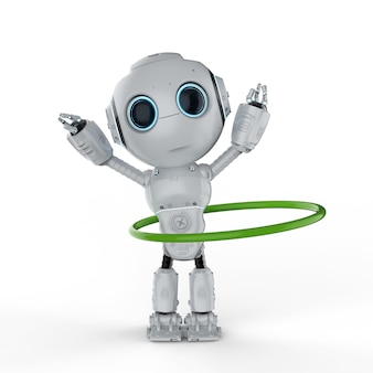 3d rendering robot play hula hoop on white background