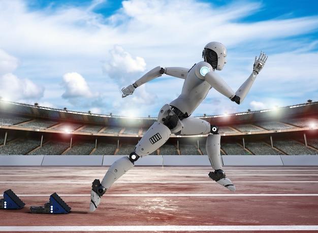 3d rendering robot running on racecourse in stadium