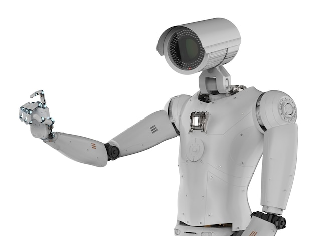3d-рендеринг камеры видеонаблюдения робота или камеры видеонаблюдения киборга
