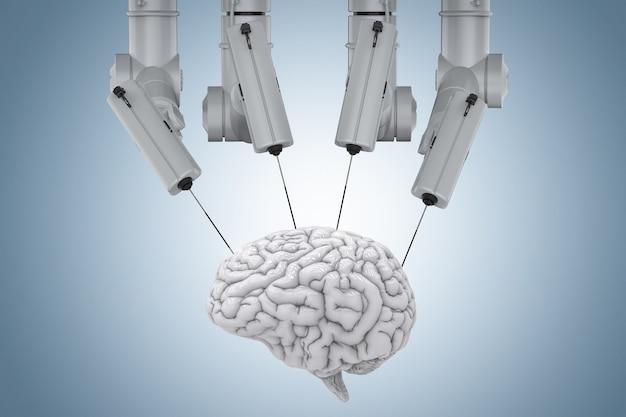 파란색 배경에 두뇌와 3d 렌더링 로봇 수술 기계