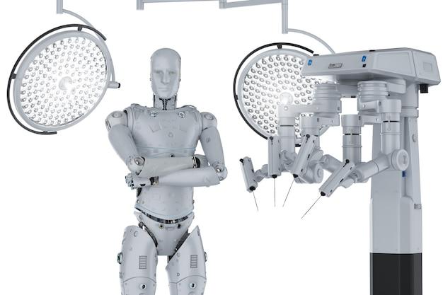 3d-рендеринг роботизированной хирургической машины с киборгом и хирургическими огнями на белом фоне